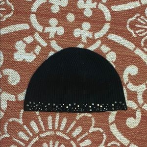 Black wool/cashmere hat with sparkles